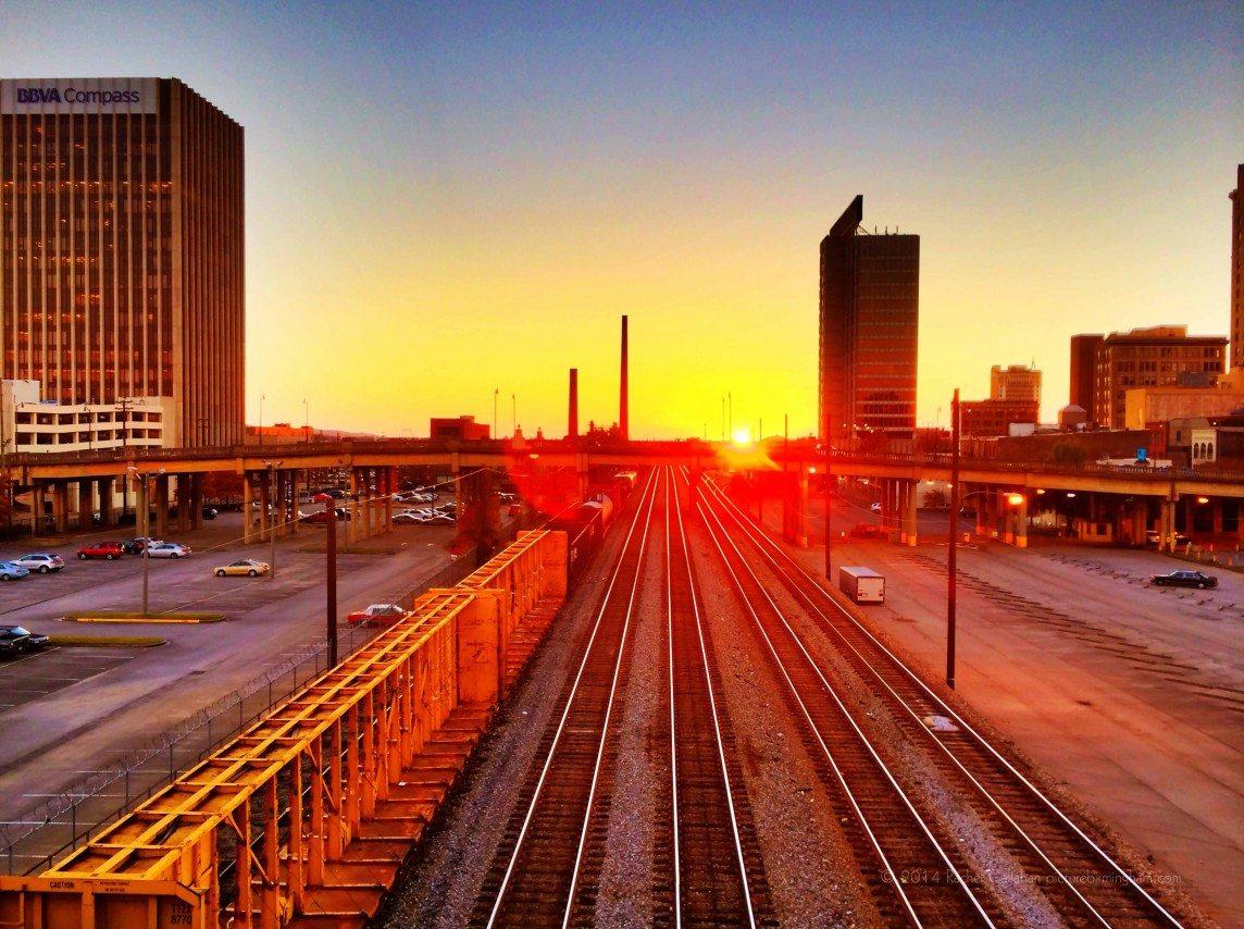 131127 Sunset over Birmingham's River