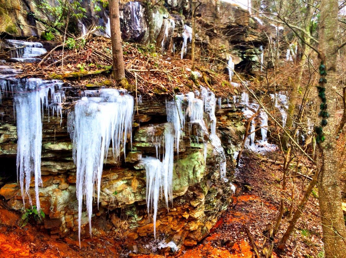 Icicle Waterfalls at Gorham's Bluff