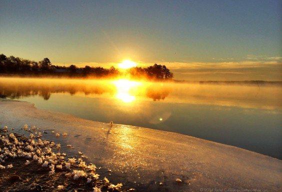 Sunrise over a Frozen Shore