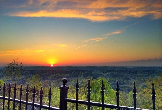 Sunset behind the Gates of Tip Top Grill