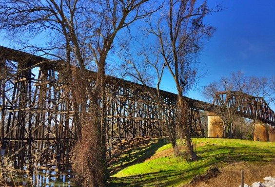 Train Travel over Tuscaloosa